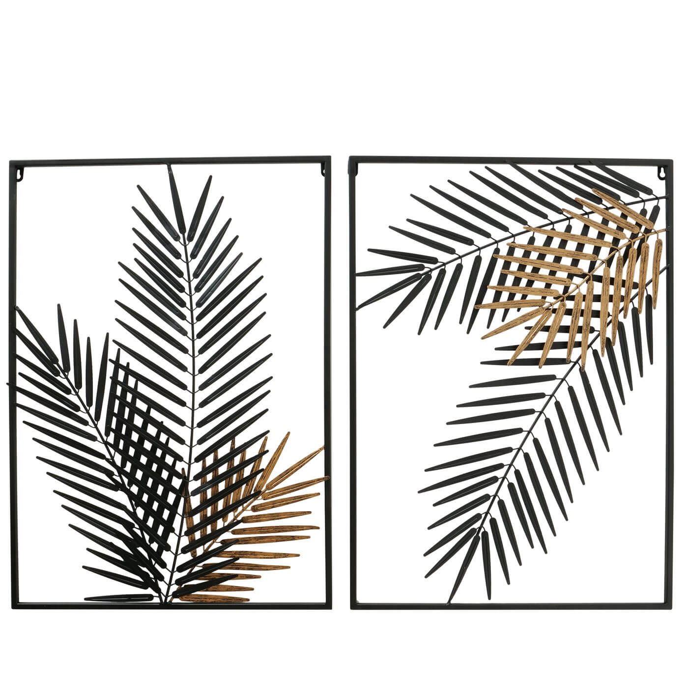 Wanddekoration PALM BLATT Set, 70 cm, gold/schwarz