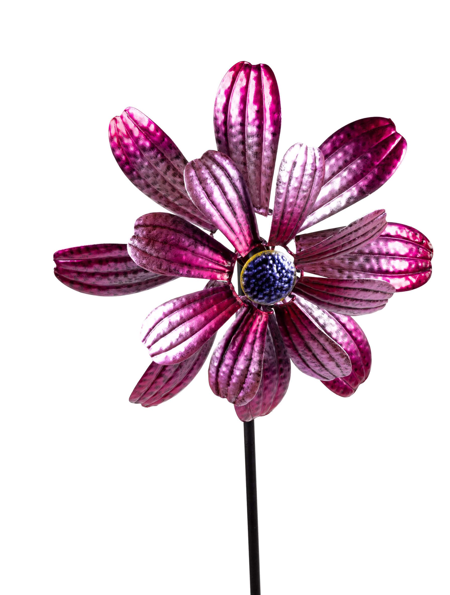 Windrad ZARTE Blume Windspiel 134 cm, Pink, Rosa Metall Blume, Gartenstecker