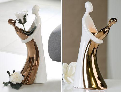 Skulptur Couple weiss/kupfer H 37,5 cm