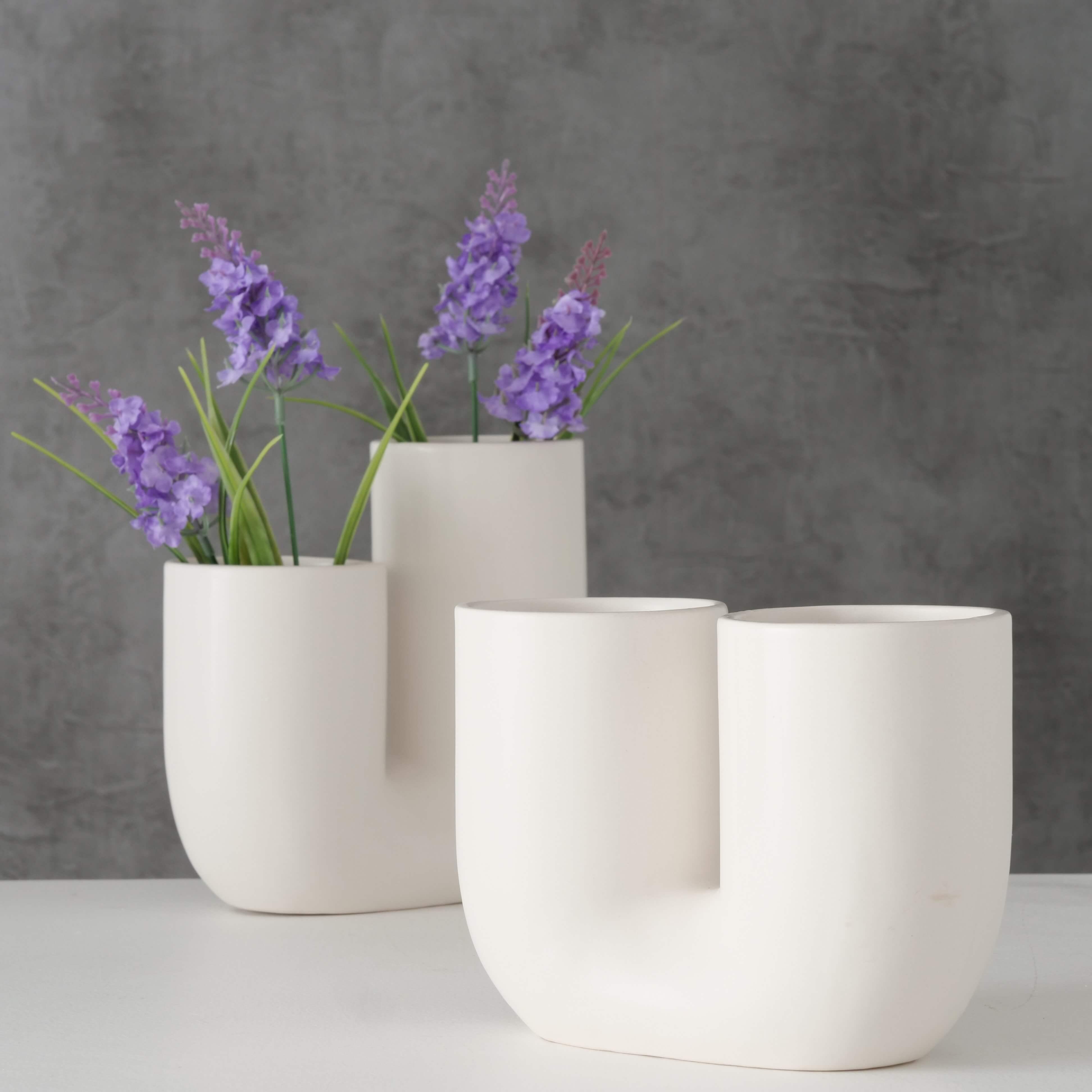 Vase FILICIO, weiß mit zwei Öffnungen, U-Form