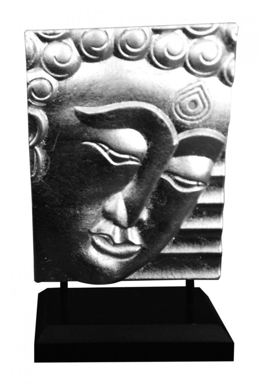 Buddhaabbild auf Fuß silber 24,5 cm hoch-Antik Optik