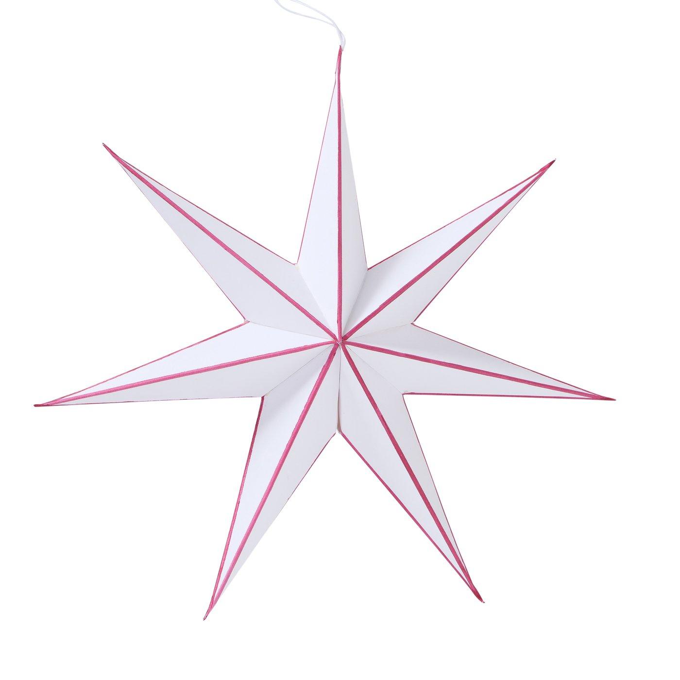 Papierstern ADVENT Stern 7 Zacken 30 cm Weiß/Rot