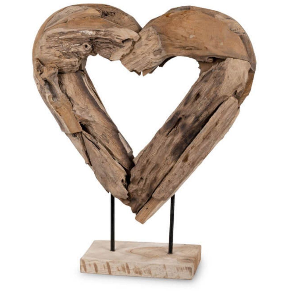 """""""Pure Nature no Waste"""" große Designskulptur Herz aus Holz - Teakholz 50 cm"""
