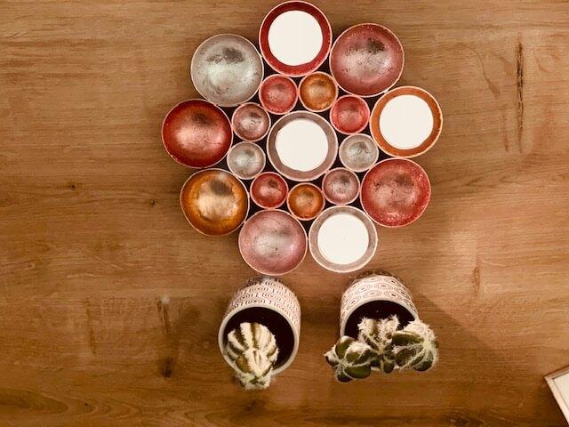 zuckersüßer Teelichthalter Blume in zarten Farben mit Silber, Rosa, Rose, Kupfer