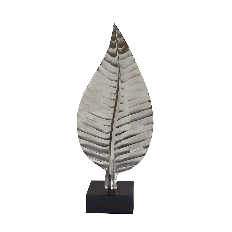 Dekofigur Skulptur Blatt 75 cm Aluminium auf Sockel, B-Ware