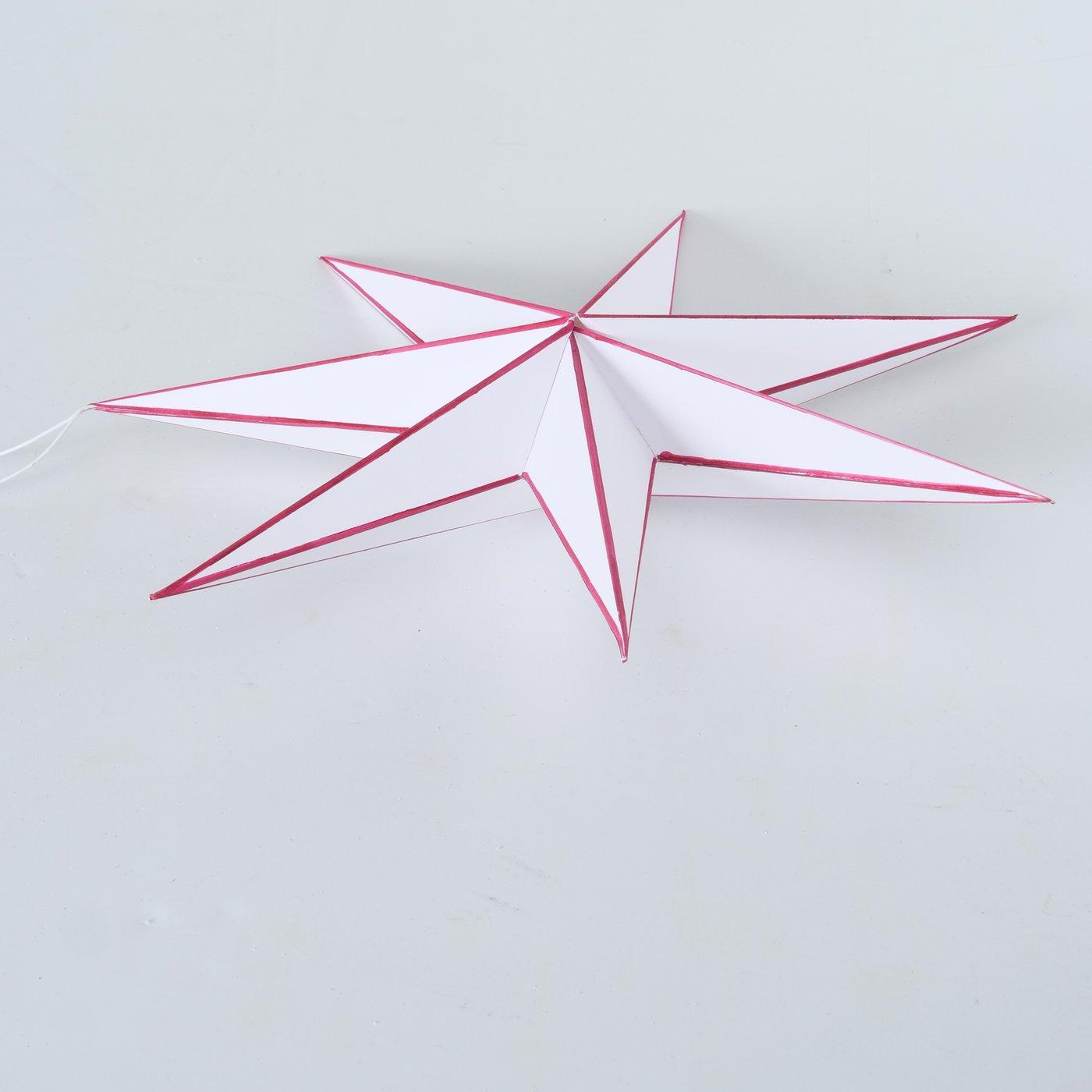 Papierstern ADVENT Stern 7 Zacken 40 cm Weiß/Rot