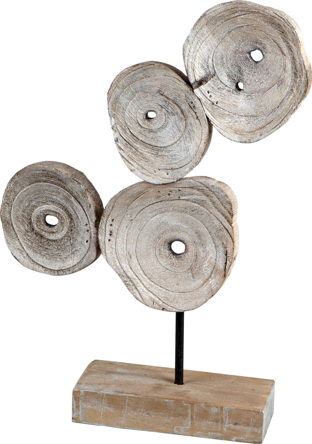 Designobjekt aus Naturholz mit Antiksilber-Finish 48 cm