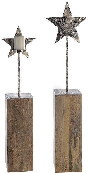 Stern mit Kerzenhalter auf einem Holzfuss RAW, 85 cm