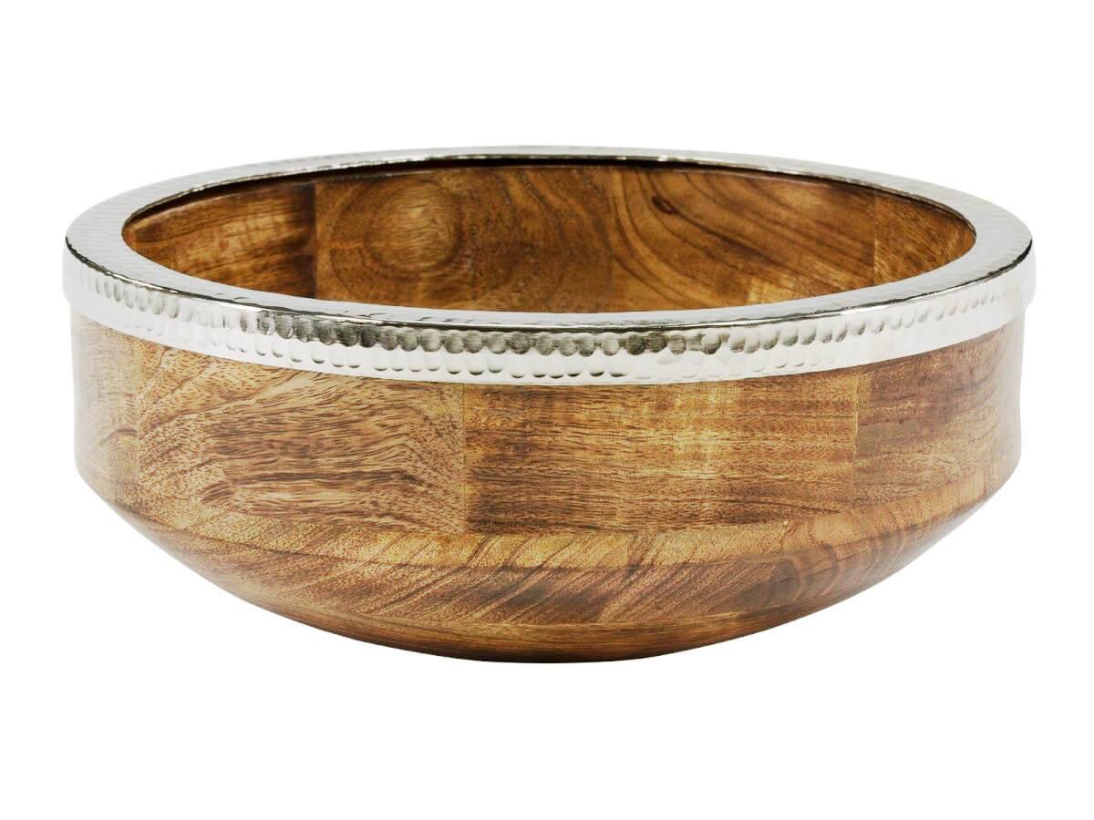 Deko-Schale Gust Mangoholz, Obstschale Holz/Silber