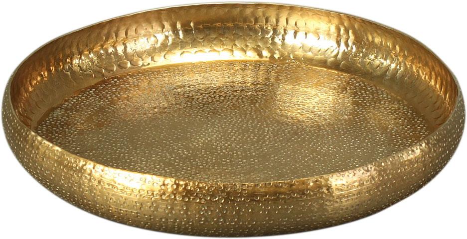 Dekoschale Tablett GOLD mit Rand gehämmerte Optik, 43 cm groß