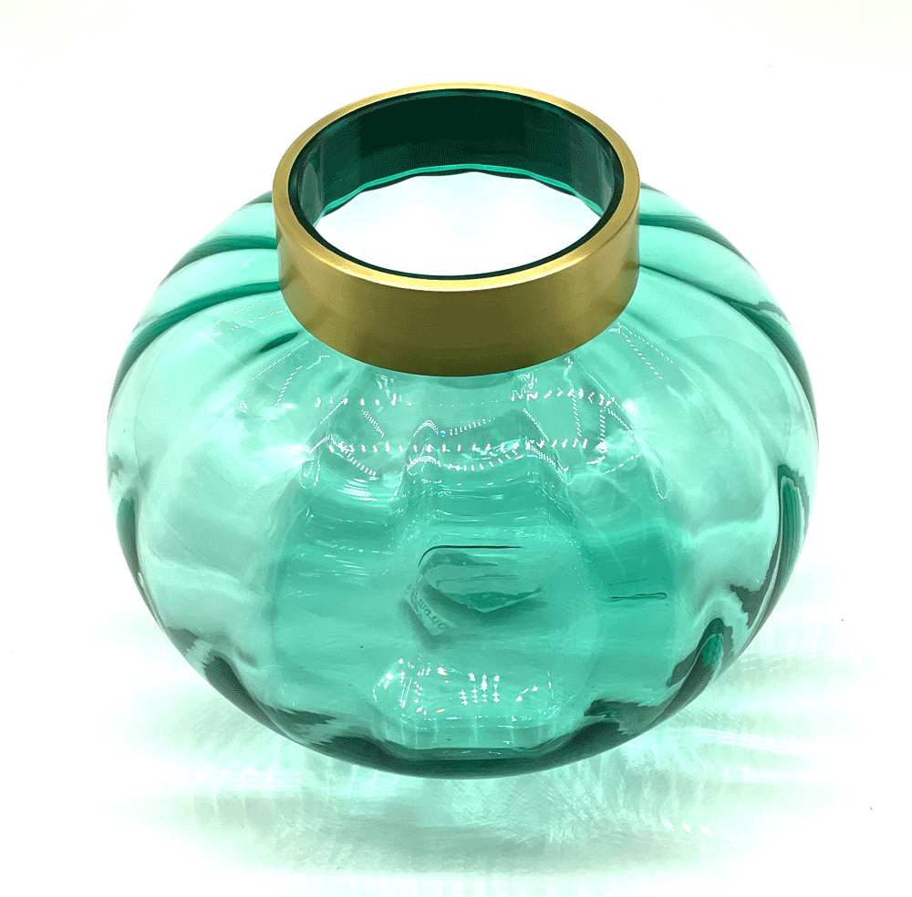 Vase rund aus Glas in Türkis-Gold groß