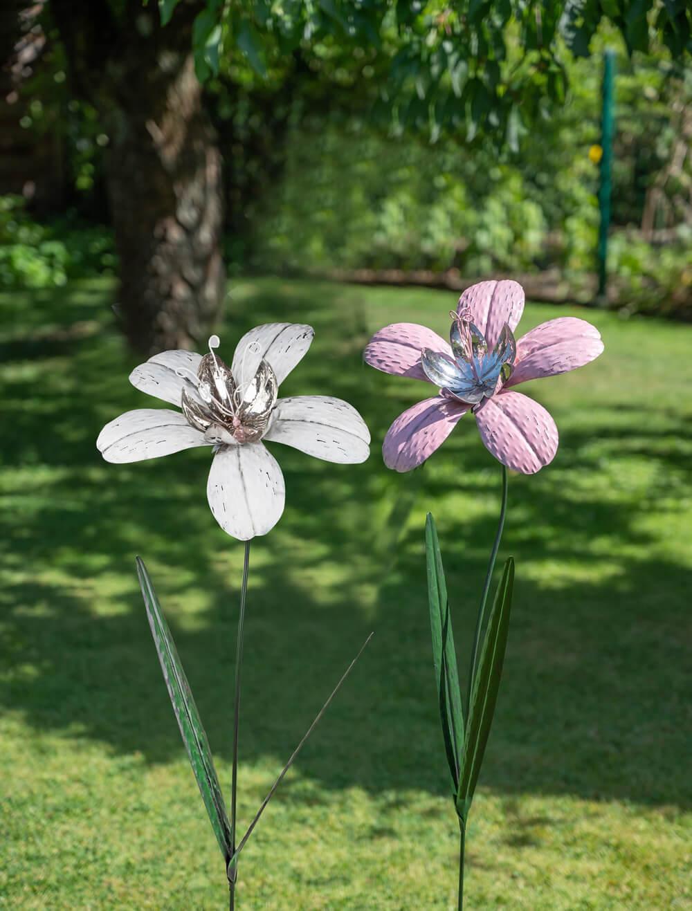 Gartenstecker Magerite rosa/weiß ca. 120 cm