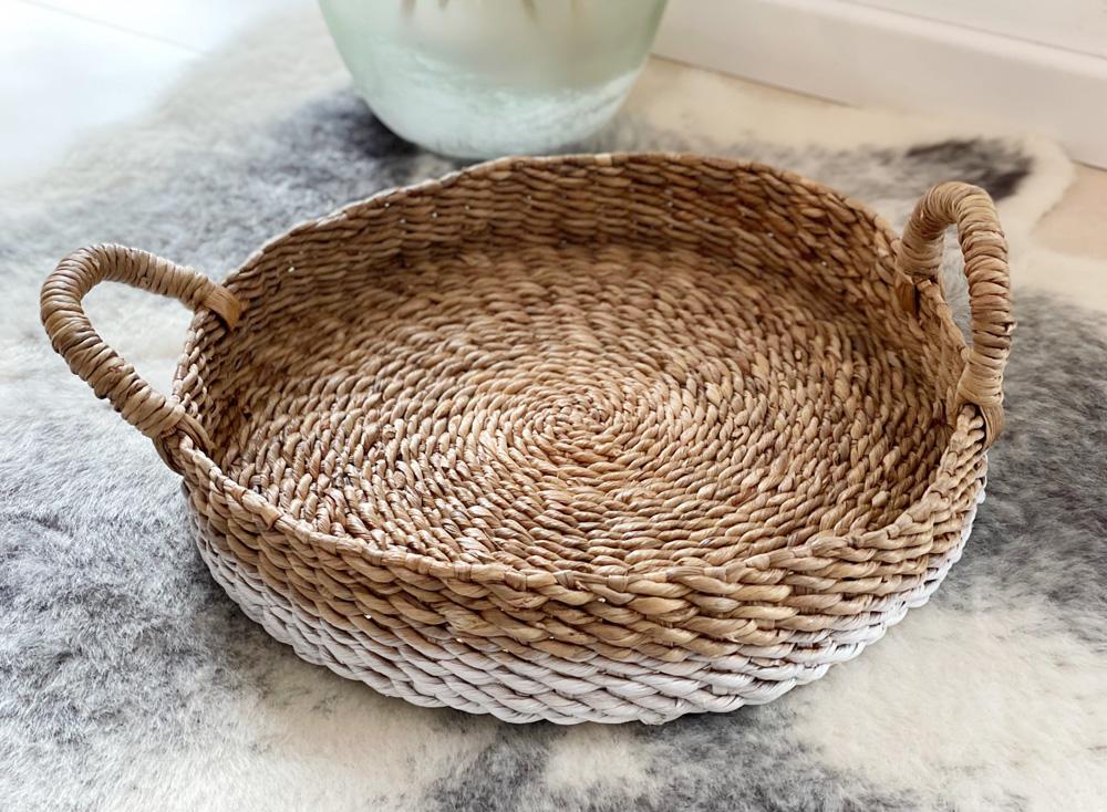 Korb-Tablett weiß, Wasserhyazinthe 42 cm