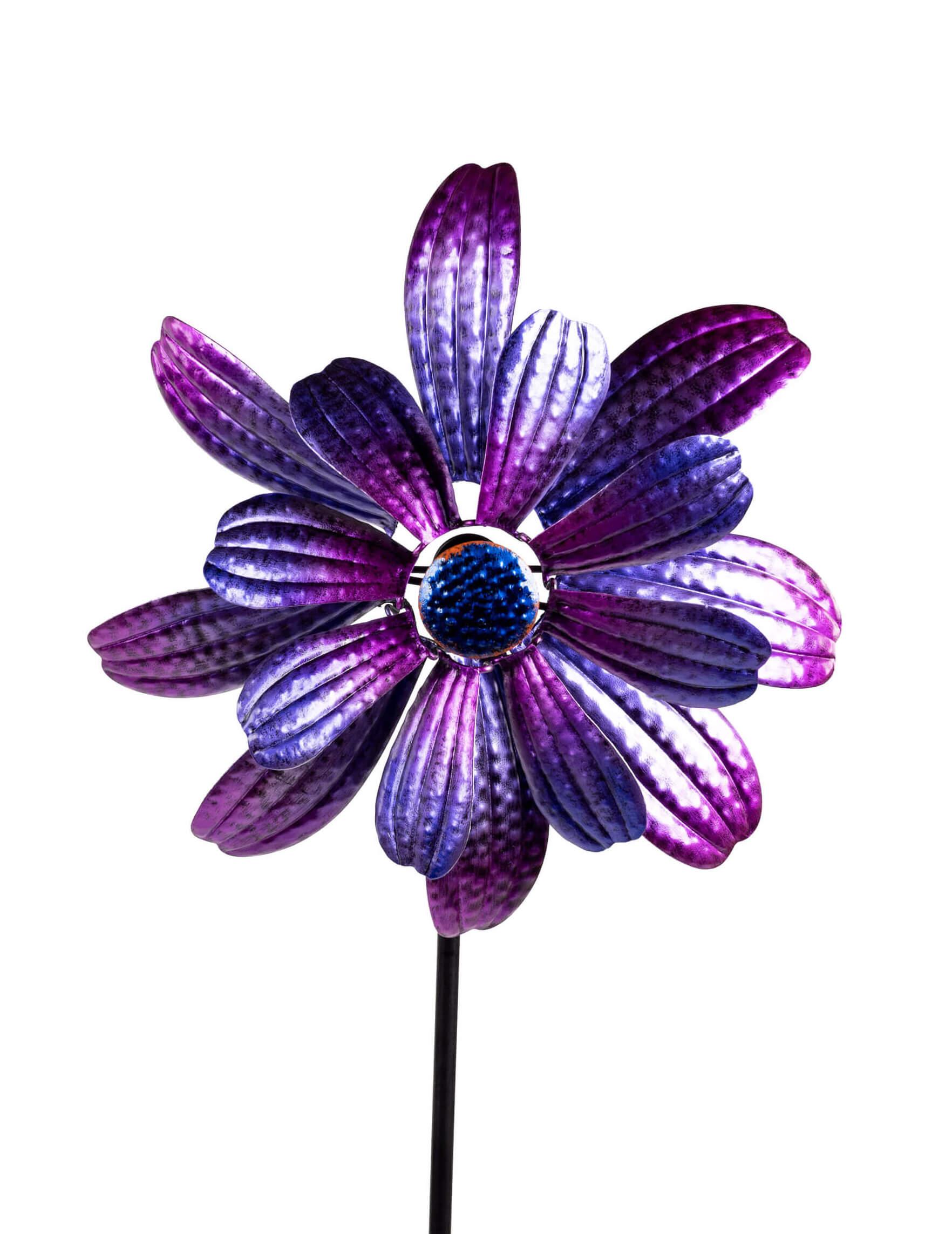 Windrad ZARTE Blume Windspiel 134 cm, Lila Metall, Gartenstecker