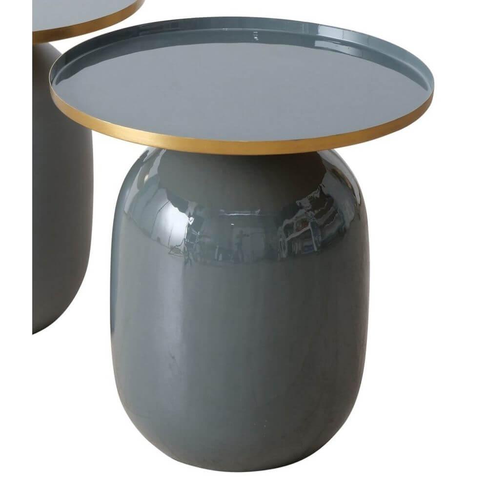 Beistelltisch TOESCO anthrazit Hochglanz, rund grau