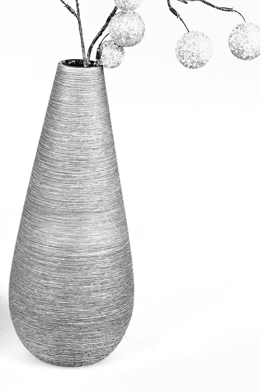 Formschöne Vase silber-grau 3 Größen
