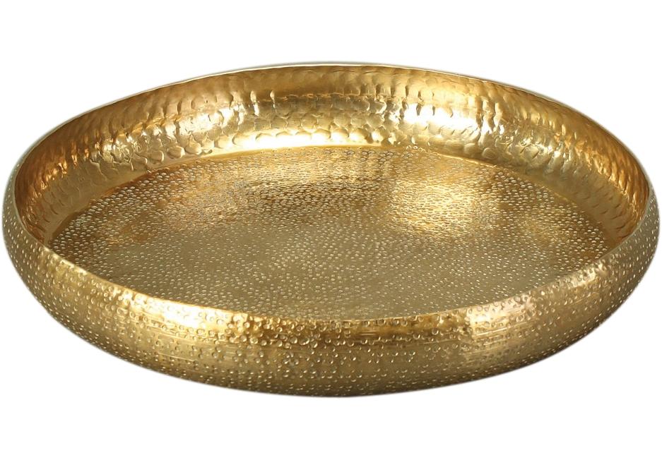 Dekoschale Tablett GOLD mit Rand gehämmerte Optik, 37 cm