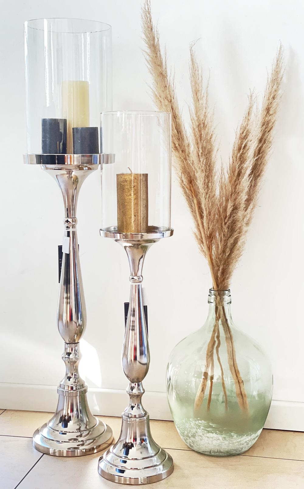 XL Stand-Windlicht groß, silber mit Glasaufsatz 79 cm