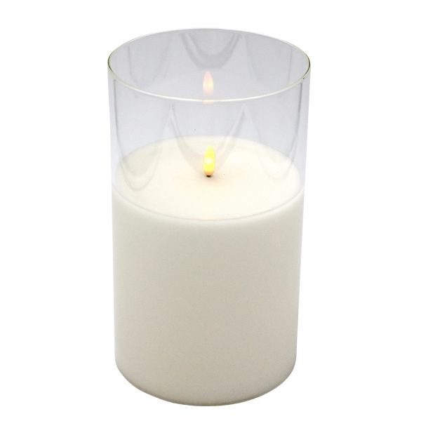 LED-Kerze im Glas 3D Flammeneffekt 20/25 cm mit Timer
