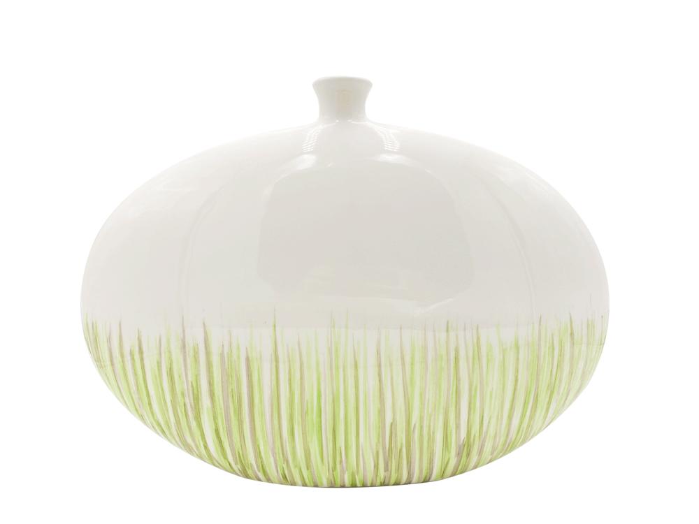Blumenvase in weiß-grün mit frischem Grasmotiv, groß 44 cm
