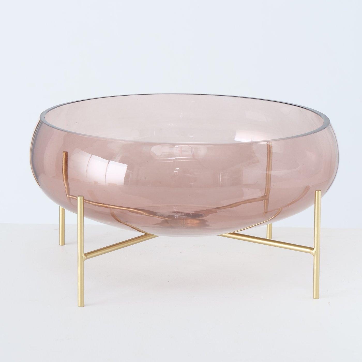 Dekoschale aus Glas - Rosa mit Ständer/gold