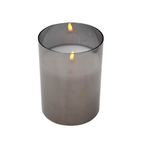 LED-Kerze im Glas 20/25 cm mit 3D Flammeneffekt